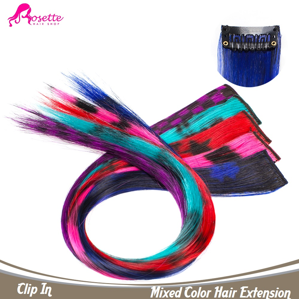 Fashion Mixed Color Hair Extension Women Long Synthetic Hair Clip In Extensions Straight Hairpiece Indian Modelling Hair Pieces(China (Mainland))