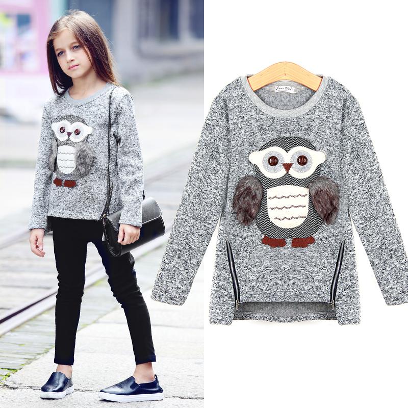 Kids Girls Fleece Lined Zip Sweatshirt Cartoon Cute Owl Casual Cotton Girls Winter Clothes 1239