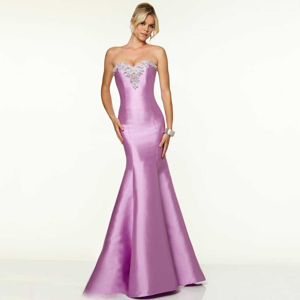 Элегантный фиолетовый пром платье сердечком кристаллы и вышивка бисером атлас длинная пром платье