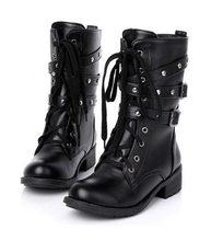 Ayakkabı Kadın Ayakkabı Kadınlar Için kısa çizmeler Kalin Martin Bootlar Hattı Cilt Toka Çizmeler Kısa siyah çizmeler bayan Ayakkabıları. DFGD-805(China)