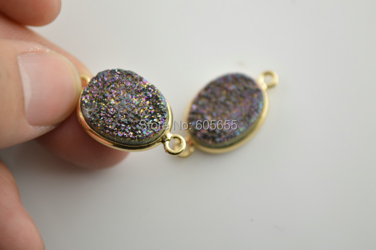 Rainbow Color 10pcs Natural Druzy Crystal 14x25mm Double Loops Connectors Fashion Women Pendant<br><br>Aliexpress
