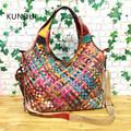 KUNDUI Star Brand Genuine Leather handbag for women Hand woven handbags women s pouch bolsas shoulder