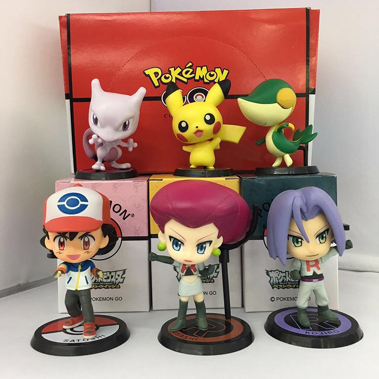 NEW hot 7-9cm Ash Ketchum Pikachu Team Rocket James jesse collectors action figure toys Christmas gift doll(China (Mainland))