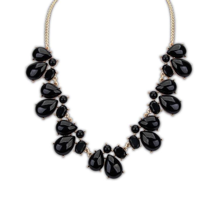Hot New Women Bib Statement Collar Chain Resin stone waterdrop imitation gemstone Pendant Necklace(China (Mainland))