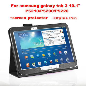 """Leather Skin Case For Samsung GALAXY Tab 3 Tab3 10.1 P5200 p5210 P5220 10.1"""" protective tablet cover +screen protector+stylus"""