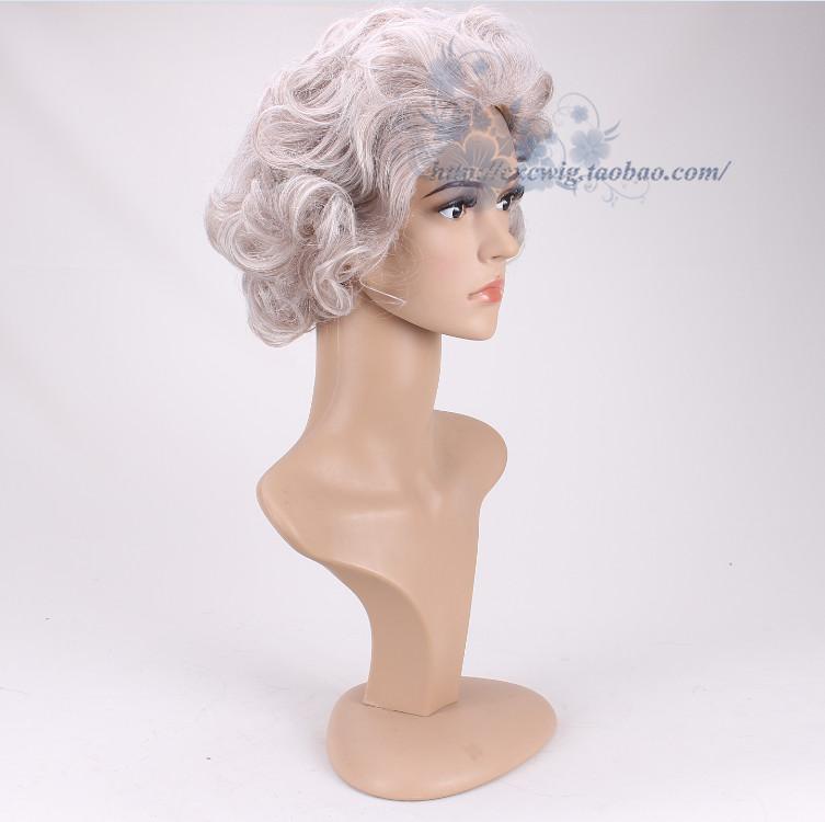 UK Queen Elizabeth Cosplay Gray Curly Short Wig Grandmother Fancy Hair Accessory