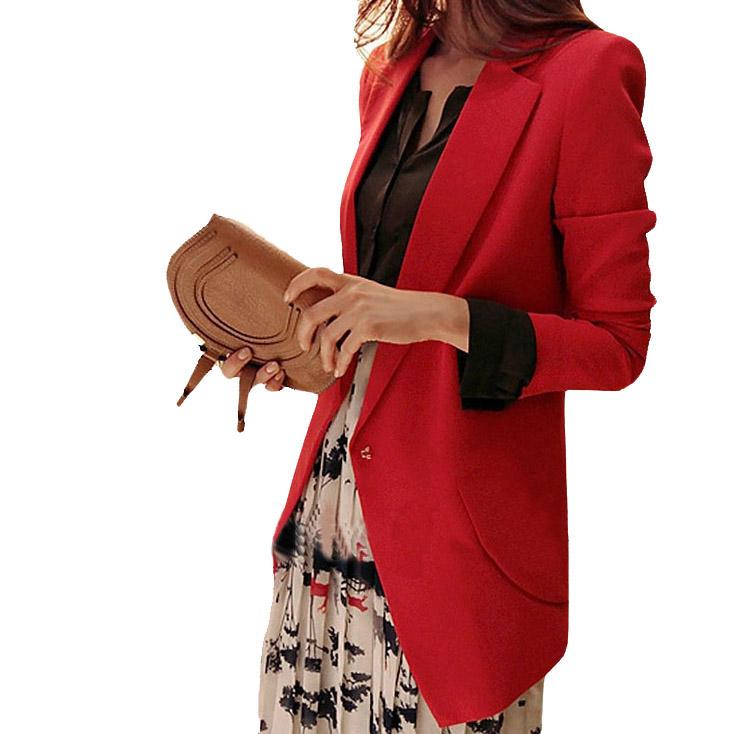 Casacos Femininos 2014 Versatile Slim Suits Red/Black/Blue Ladies Blazer Fuzz Balls Polyster Jacket Women