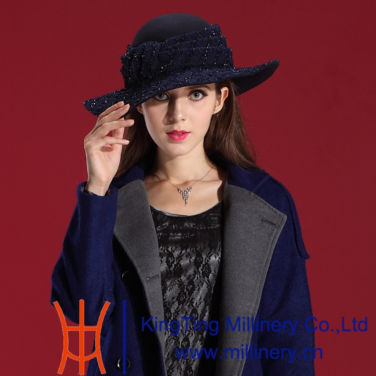 Autumn Winter Women Hats Noble Fashion Dress Wool Felts Hat Natural 100% High Package Mail - Shop store