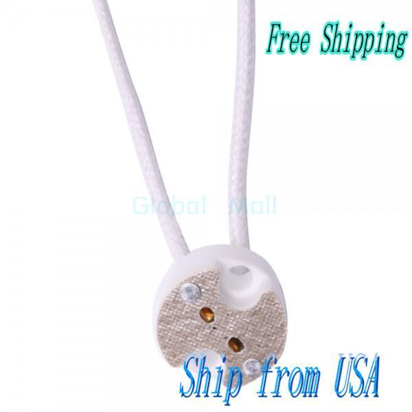 Ship From USA MR16 MR11 GU5.3 LED Halogen Bulb Wire Connector Socket E02814(China (Mainland))