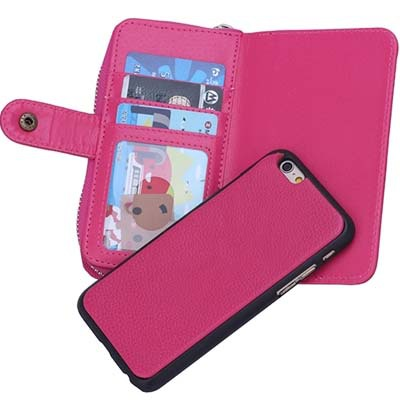 2015 new arrival leather wallet case for iphone 6 2 in 1 cell phone case cover(China (Mainland))