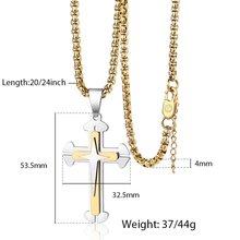 Trendsmax krzyż naszyjnik dla mężczyzn chłopców złoty srebrny czarny krucyfiks skrzynka ze stali nierdzewnej łańcuch biżuteria religijna TNS003(Hong Kong,China)