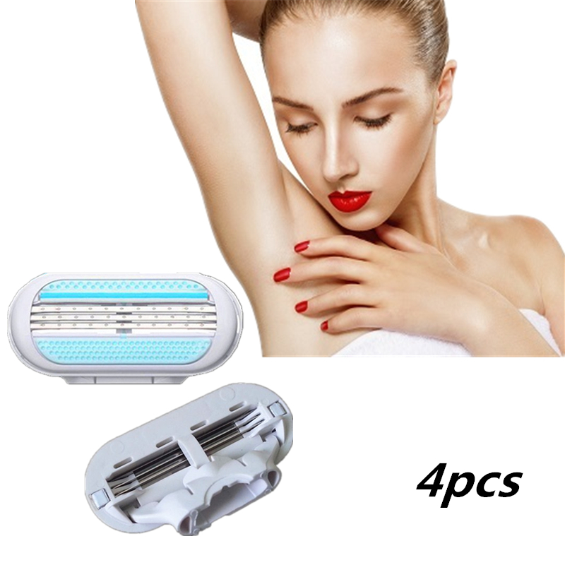 4pcs/lot High Quality Safety Woman Razor Blades, Three Layers Shaving Razor Blades For Female Hand Leg Bikini Underarm Venuse