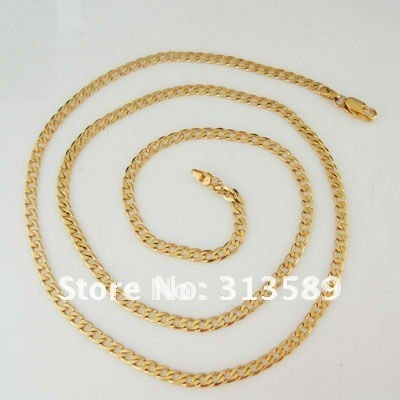 """Free Shipping/Min order 10$/ 24"""" - YELLOW GOLD SOLID GP FILLED CUBAN CHAIN NECKLACE/Great Gift/Great Money Maker"""