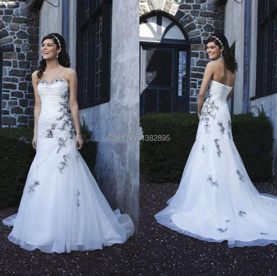 Newest Sexy Black And White Wedding Dresses Sweetheart ... - photo #11
