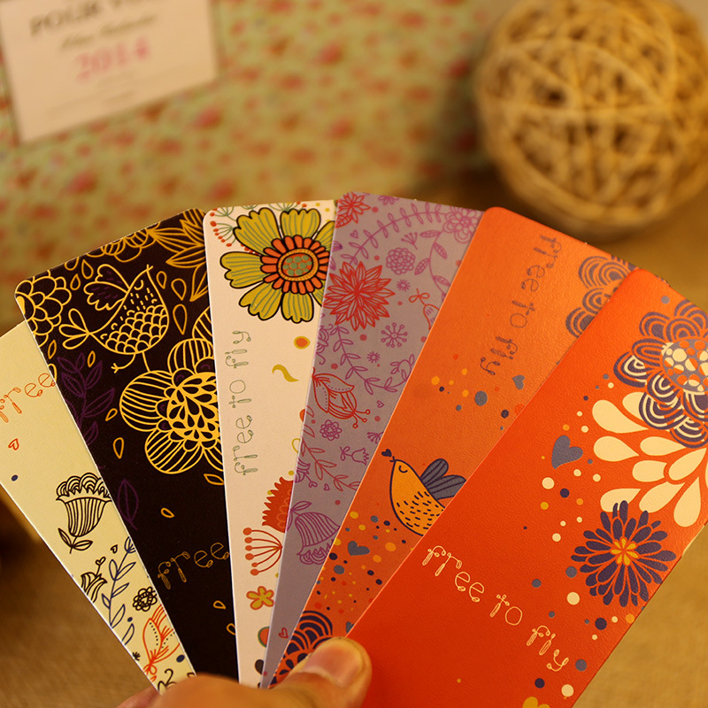 30 pcs/lot Cute Korean Flower Bird Paper Bookmarks Vintage Book Mark Stationery School Supplies Free Shipping 618(China (Mainland))