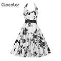 Clocolor Vintage dress print Summer Rockabilly Dress White Cotton Blends sleeveless Dress hot sale 2016 vintage