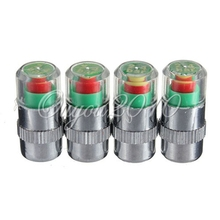 Best ! Top Quality 4Pcs/lot Car 36 PSI Tire Pressure Monitor System Caps Sensor Indicator 3 Colors Eye Alert Tyres Accessories(China (Mainland))