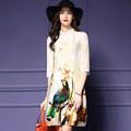 2016 Summer Cool short Sleeve Elegant Women Dresses Chinese Style Vintage Bird print lady Dress Female