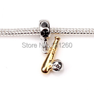 1PC silver 3D baseball Hollow European charm Beads Fits Silver Charm Bracelets necklaces pendant - Helmet & Jewelry Accessories store
