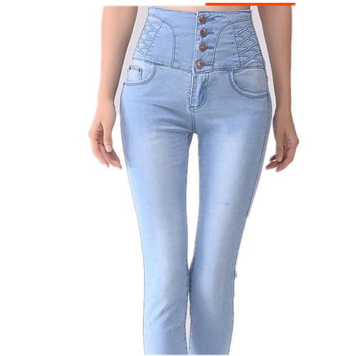 Бесплатная доставка зима женщины толстые теплые бархатные джинсы, однобортный женские высокая талия карандаш джинсовые брюки