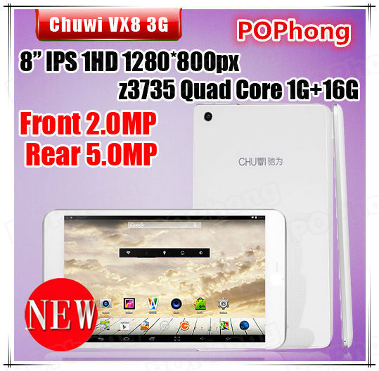 8 inch Chuwi VX8 3G 1GB RAM GPS Tablet PC In-tel Atom Z3735 64bit Quad Core(China (Mainland))