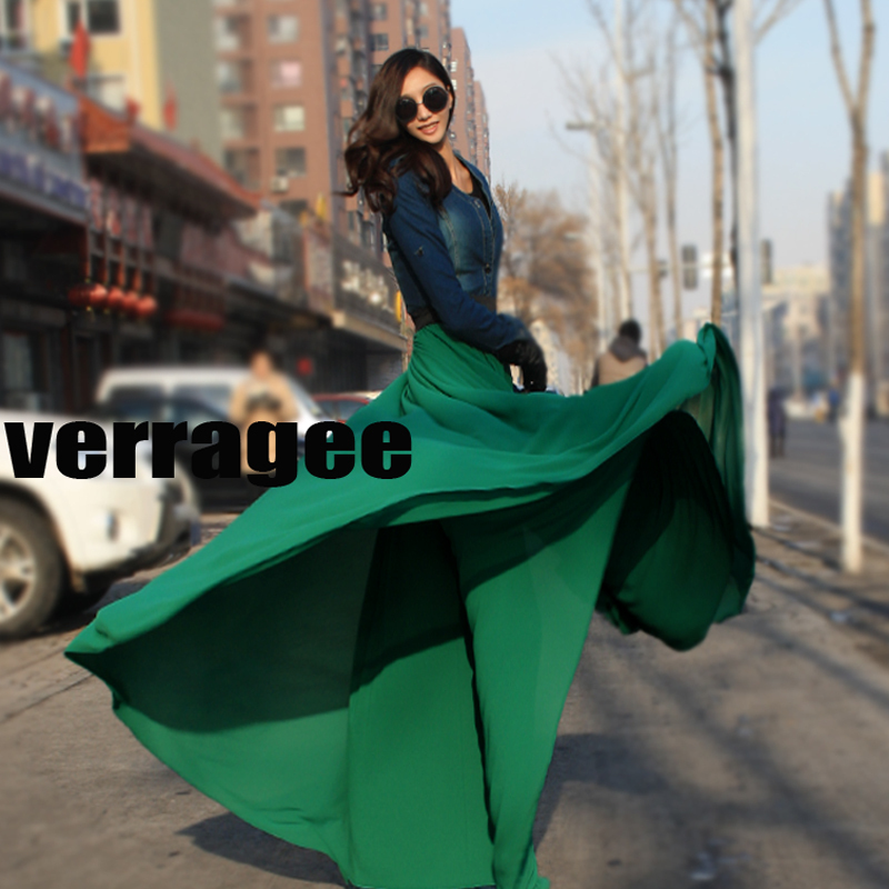 Spring Summer Womens Fashion Solid Maxi Skirt Chiffon floor Long 8 Meters Plus Size Beach Skirts Saia 9 Colors A22 - Boutique cottages store