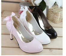 2015 New Korean Candy Shoes Waterproof platform Heels Shoes Women Shoes lace Bow w153(China (Mainland))