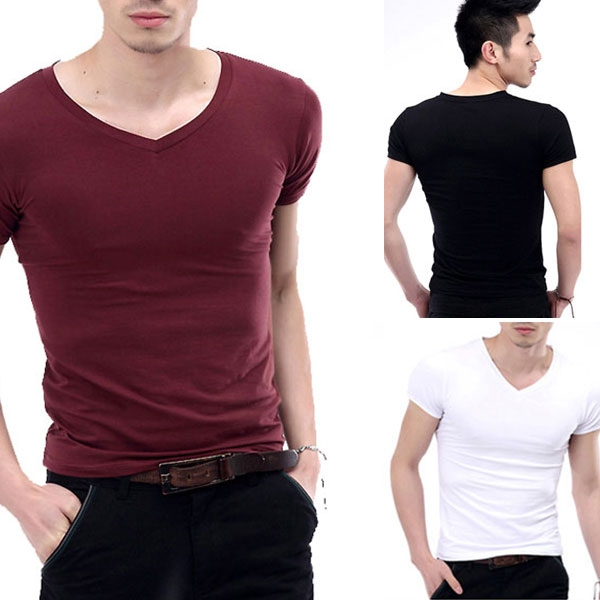 New hot Fashion Mens V-Neck Short Sleeve T-Shirt Slim Basic Tee Top XS-L Multicolor free shippingОдежда и ак�е��уары<br><br><br>Aliexpress