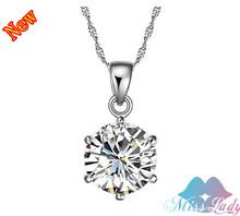 18K Platinum Plated Zircon Crystal Wedding bridal Engagement Necklace Pendants Wholesales Fashion Jewelry women Z1263(China (Mainland))