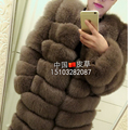 Fox fur coat full leather fox fur long overcoat design horizontal stripe fur fashion