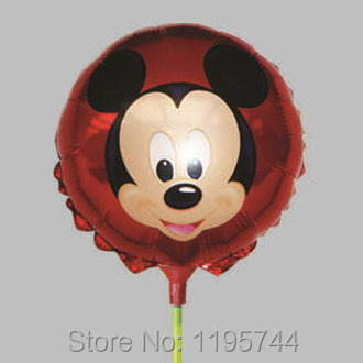20Pcs/Lot, Free Shipping, 8.5 Inch Mickey Mouse Balloon Stick, Baby Shower Foil Balloon, Party/Birthday/Wedding Decorations.(China (Mainland))