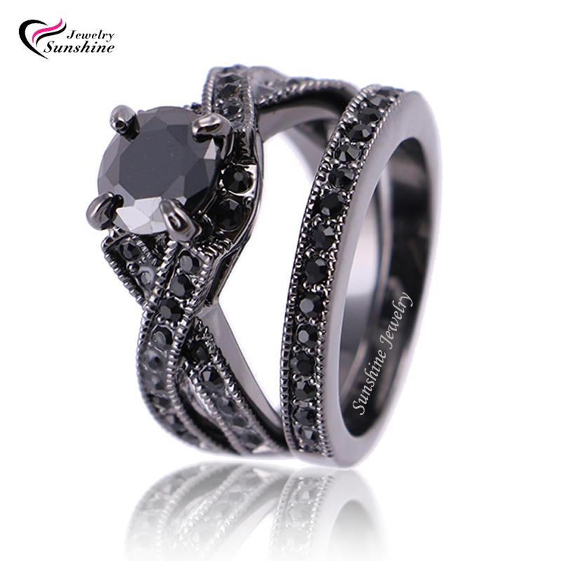 black Cubic Zirconia Black Plated Women s Black Gold Wedding Ring Set Eng