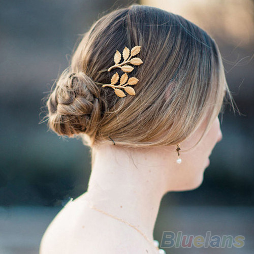 1Pc Fashion Lovely Leaves Golden Metal Punk Hairpin Hair Clip Hair Accessories Personality Golden Leaf Hair Apparel Accessories(China (Mainland))