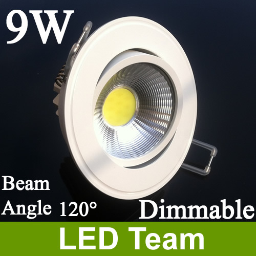 Factory Price Dimmable 9W COB LED Downlight Lighting Cool / Nature Warm White 600lm AC85-265V 120 Beam Angle CE$ROHS FCC UL - Team store