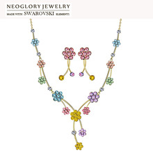 Neoglory MADE WITH SWAROVSKI ELEMENTS Rhinestone Jewelry Set Colorful Flower Design Party For Women Trendy Necklaces & Earrings(China (Mainland))