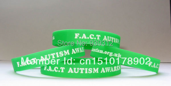 Silicone bracelets Debossed FACT logo with white color(China (Mainland))