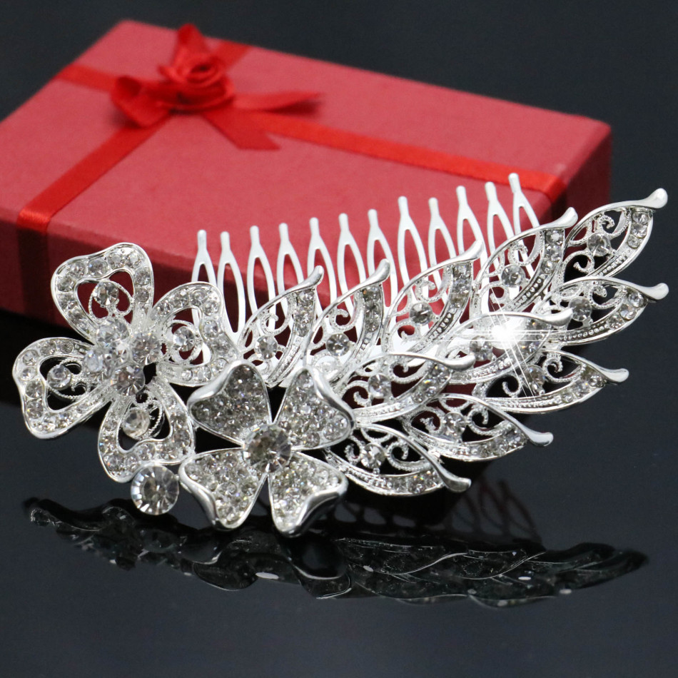 Trendy Women Hairwear Wedding Tiara Sparkling Silver Plated Crystal Bridal Hair Combs Hairpin Jewelry Hair Accessories 117*68cm(China (Mainland))