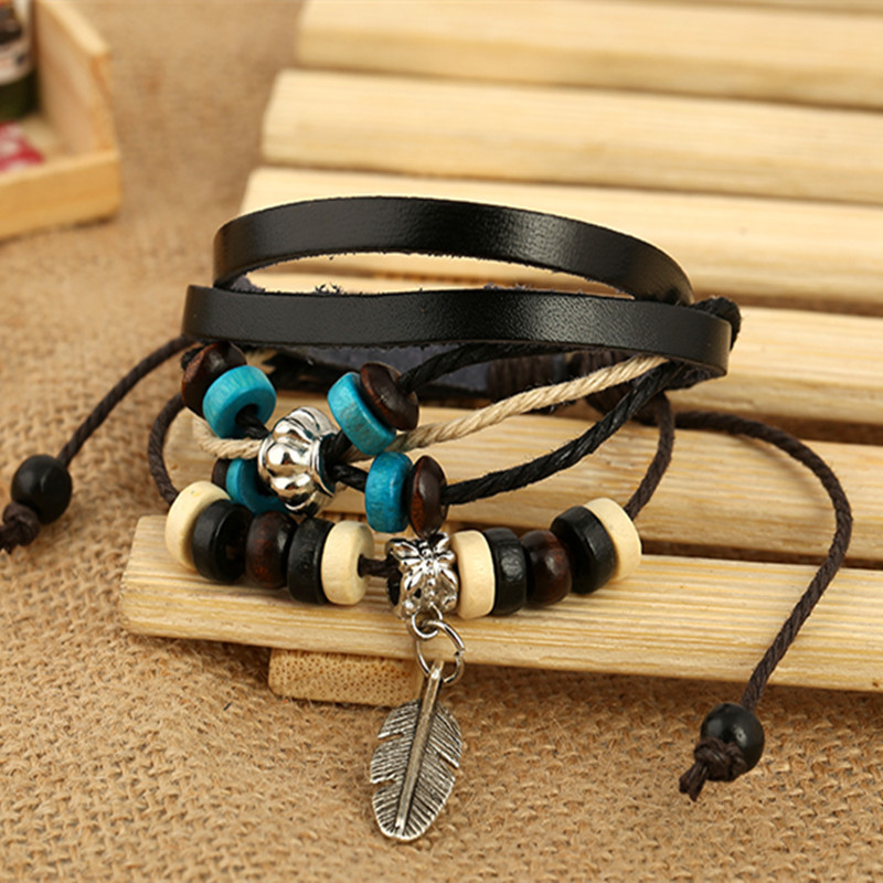 Fashion Jewelry PU Leather Charm Friendship Bracelets Bangles Feather Accessories Wedding Men Jewelry Free Shipping