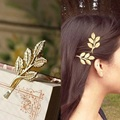 1Pc Fashion Lovely Leaves Gold Silver Plated Metal Punk Hairpin Hair Clip Hair Accessories for Women