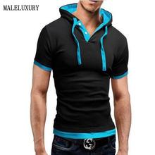 T Shirt Men Brand 2016 Fashion Men'S Hooded Collar Sling Design Tops & Tees T Shirt Men Short Sleeve Slim Male Tops 4XL NFSD