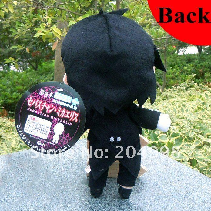"Free shipping Black Butler Kuroshitsuji 11"" Sebastian Cosplay Soft  Plush Stuffed Toy  Black  Wholesale and Retail"