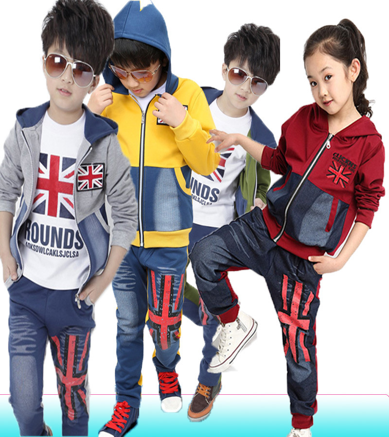 Children's clothing male child 2014 spring and autumn sweatshirt 3 piece set child sports set outerwear trousers with t shirt(China (Mainland))