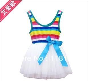 Wholesale - Summer Girl's Rainbow Dresses Baby Dresses Children SkirtsTutu Skirts 12set/lot
