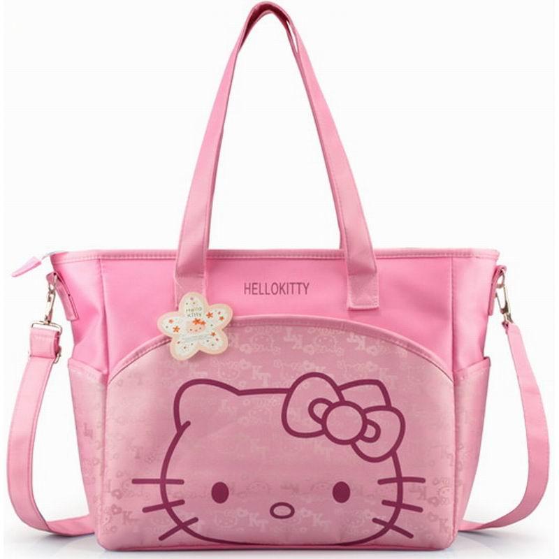 2016 New Hello Kitty Mummy Bag Women Casual Shopping Bag Cartoon Storage Bag(China (Mainland))