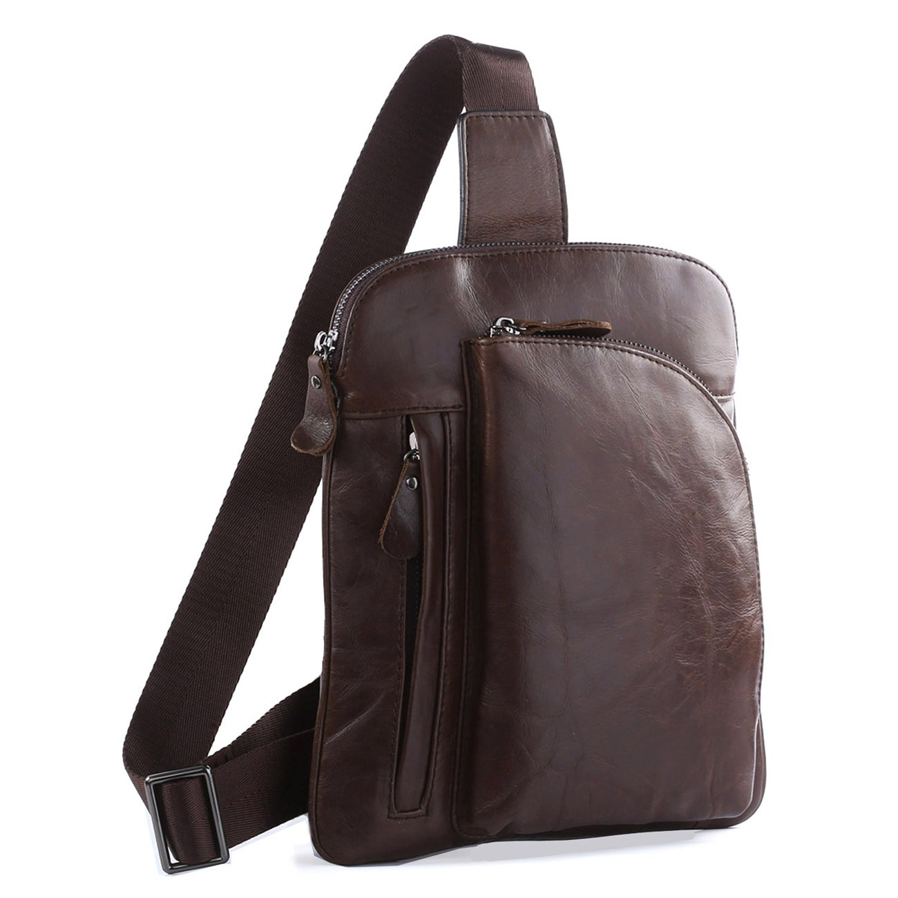 Korean Tide Retro Casual Leather Chest Pack Bag genuine first layer Leather messenger bags Fashion crossbody bag 7194c