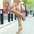 Single Autumn And Winter Rhinestone High Heeled Boots Nightclub Over The Knee Boots Straps Botas Femininas
