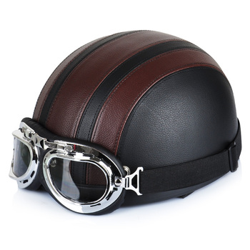 Hot Sell New Brown Synthetic Leather Vintage Motorcycle Cruiser Touring Open Face Half Motor Scooter Helmets & Visor & Goggles