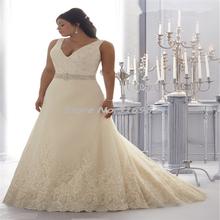 Casamento Plus Size Wedding Dress 2015 Summer Style A-Line V-Neck Organza Lace Appliques Beaded Wedding Dresses vestido de noiva(China (Mainland))