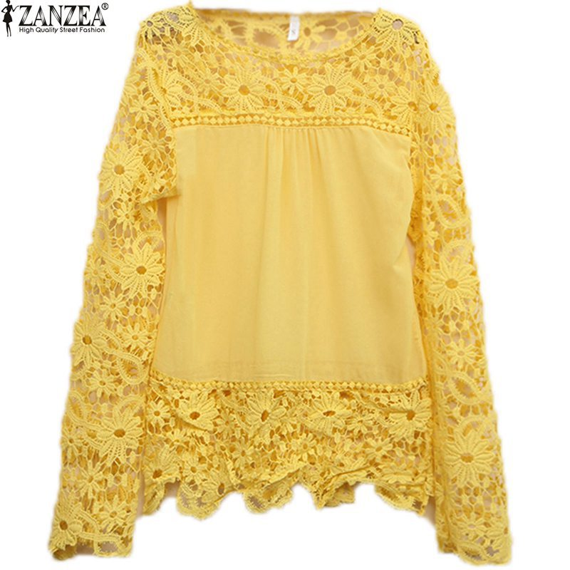 9 Colors 8 Sizes New 2015 Fashion Women Lace Chiffion Blouses Gorgeous Shirts Long Sleeve Hollow Crochet Blusas Femininas(China (Mainland))