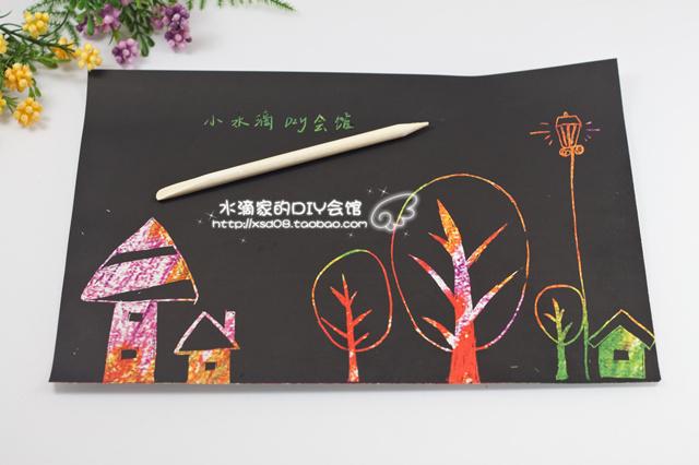 16k scraping drawing paper scratch wax paper child drawing for Drawing on wax paper